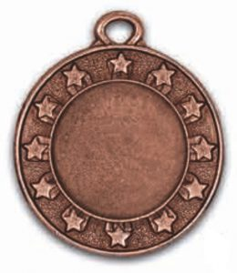 Medaglia stelline colore bronzo diametro 40